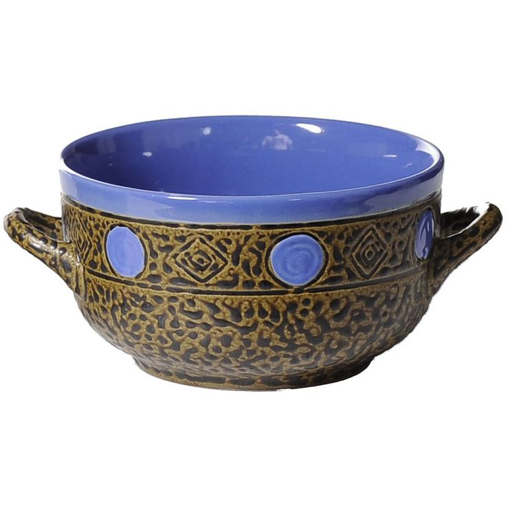 15 Oz Southwest Soup Bowl with Handle in Blue