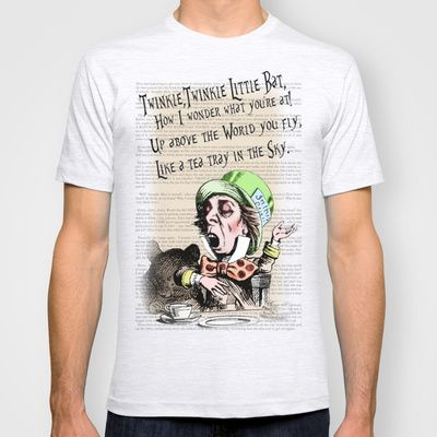 Mad Hatter 2 - Twinkle Twinkle Little Bat Poem / Alice in Wonderland T-shirt by Particularly Peculiar - $22.00  #hatter #madhatter #alice #aliceinwonderland #clothes #top #designer #fun