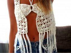 Pretta Crochet: chaleco de ganchillo con flecos Diagrama ♡ Teresa Restegui http://www.pinterest.com/teretegui/ ♡