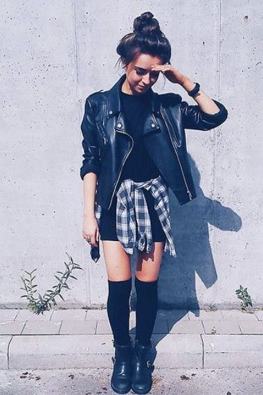 leather jacket + flannel