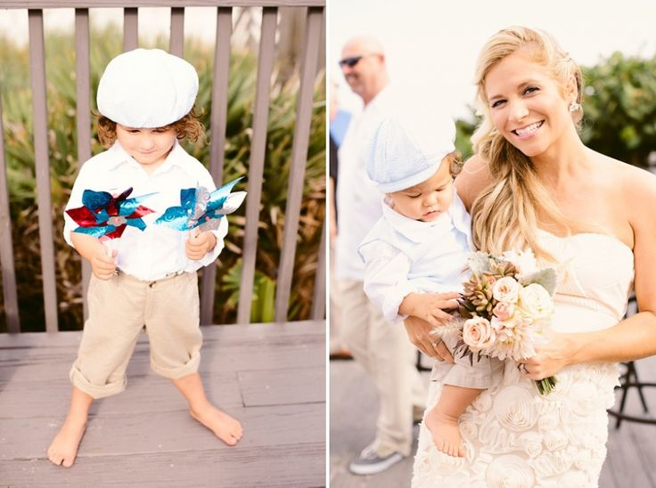 Dressed for the beach wedding, this wee guest brings pinwheels to spin in the breeze, while the bridesmaid carries a bouquet the colors of sun, sand, grass and sky.