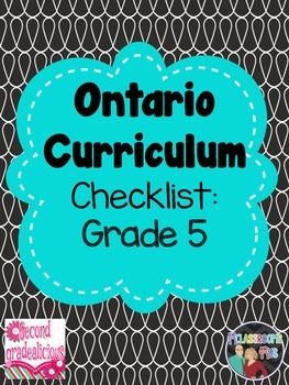 "This package includes a checklist for term 1 and term 2 for the Ontario Grade 5 Curriculum. This package can be used in addition to our ""Editable Teacher Binder"" to help you stay organized for the upcoming school year. Editable Teacher Binder"
