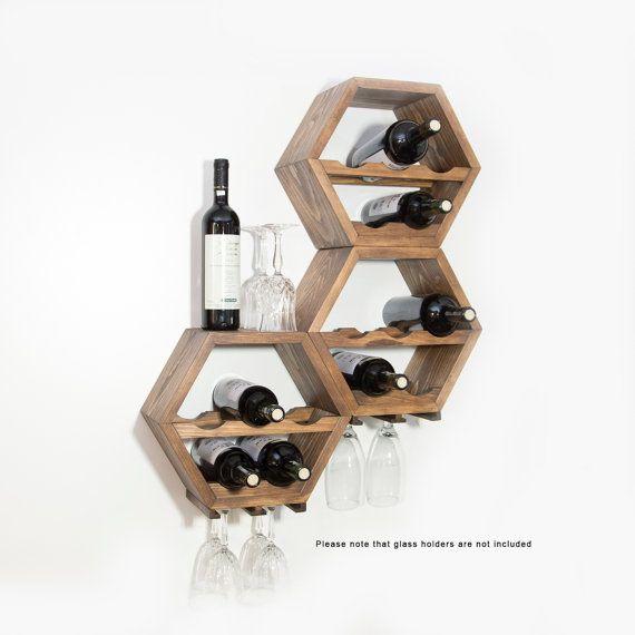 Honeycomb Wine Rack - MidCentury Modern Decor - Hexagon Wine Racks - Modular Wine Storage - Wine Lovers - Unique Kitchen Wall Art - Set of 3