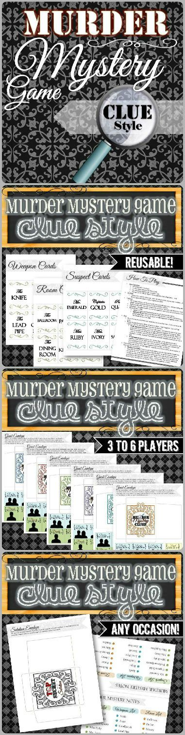 A Murder Mystery Game with a Clue twist that can be played over and over again in ANY setting at ANY occasion! The Murder Mystery can accommodate 3-6 players and requires little setup or preparation. Simply print and play over dessert, dinner, or any birthday or holiday party. This Murder Mystery game includes 6 Suspects, 6 Weapons, and 6 possible locations. Your job is to figure out who did it with what and where. Even the host can play and when the game is over, you can do it again…