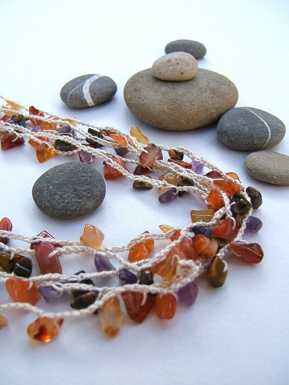 Necklace.Cornaline Amethyst Tigers eye necklace. by FerCreations, $28.00