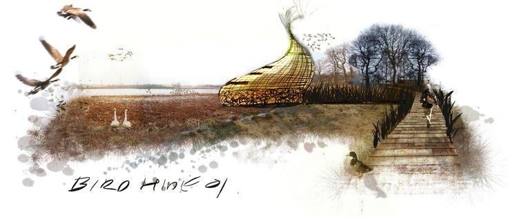 Artist's rendering: Plett Bird Hide Land Art sketch.