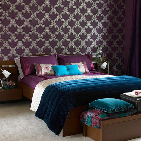 decorating with turquoise teal and purple - Dark Purple Bedroom Ideas
