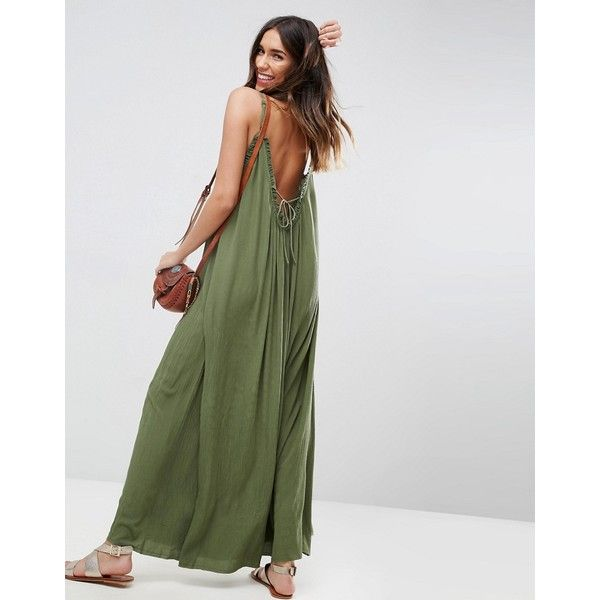 ASOS Casual Maxi Dress with Scoop Back (€49) ❤ liked on Polyvore featuring dresses, green, night out dresses, ruffle prom dress, green prom dresses, party dresses and plunging neckline maxi dress
