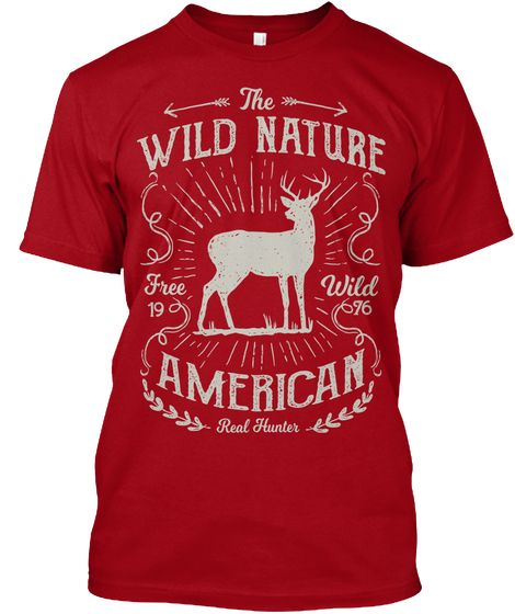 The Wild Nature American Deep Red T-Shirt Front