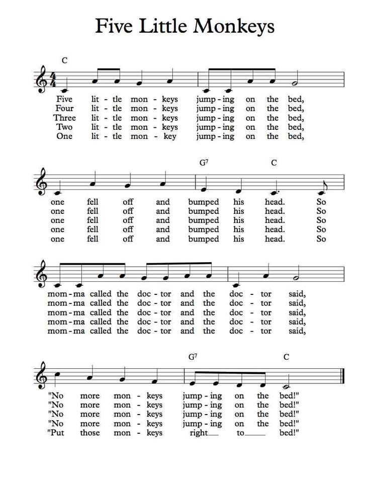 Free Sheet Music - Free Lead Sheet - Five Little Monkeys Jumping on the Bed - Children's Song