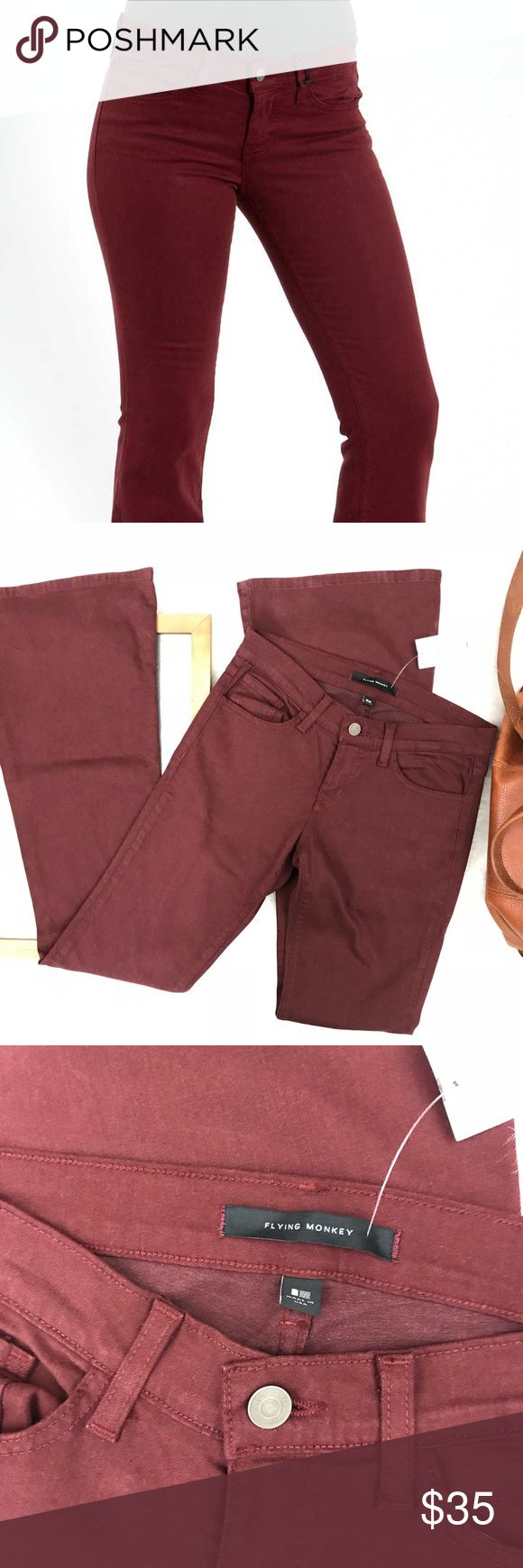 Flying Monkey Flare jeans burgundy NWT 26 Stretch Brand New! Flying Monkey Jeans Flare & Wide Leg