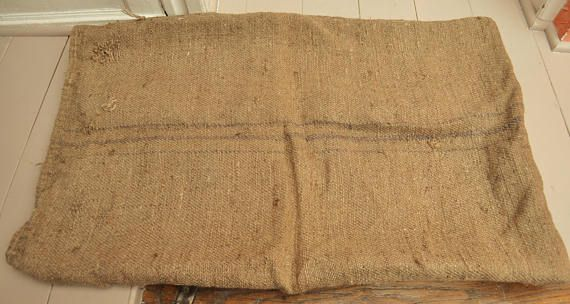 Very Old Hessian Bag / Handwoven Jute Fabric / Rustic French