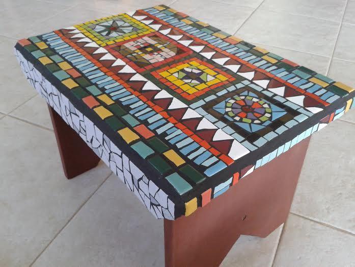 By Margalit Mosaic www.facebook.com/... Ethnic stool, ceramic tiles