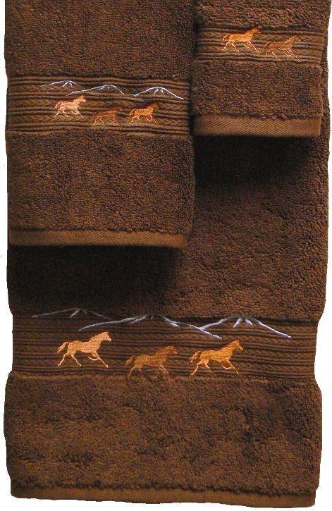 Horses Running 3-pc Bath Towel Set Brown western bath