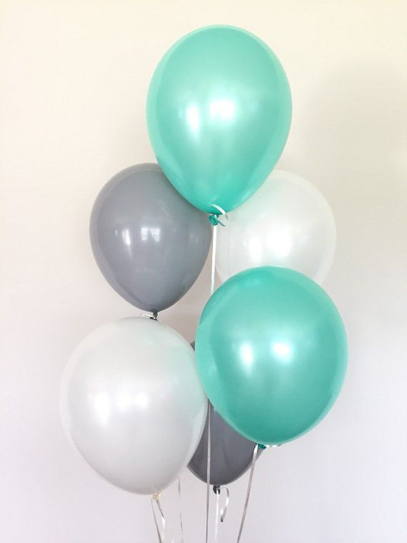 Mint And Gray Balloons Mint Balloons Mint Baby Shower Decor Mint White And Gray Balloons