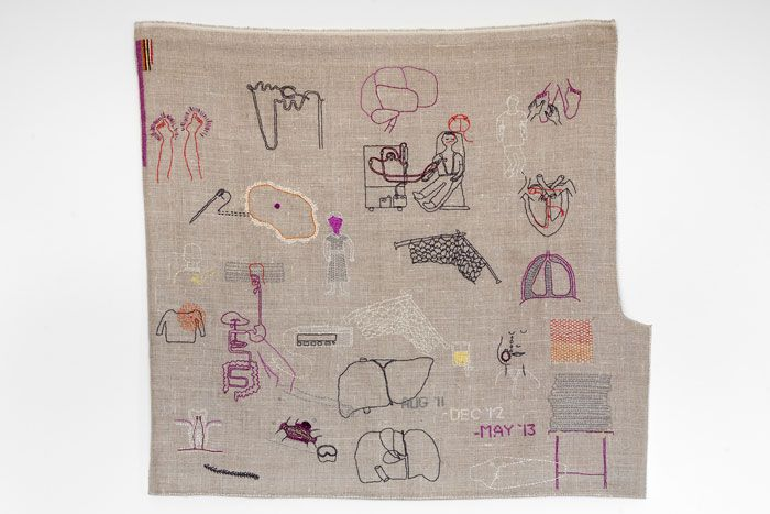 Celia PymLearning to be a nurse, cotton embroidery on linen, 72 x 45cm, 2013