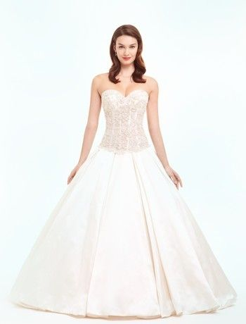 Sweetheart Princess/Ball Gown Wedding Dress  with Dropped Waist in Satin. Bridal Gown Style Number:32492530