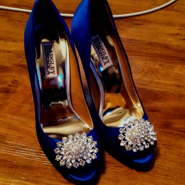 Badgley Mischka Lissa In White Dyed Royal Blue My Wedding Shoes That Were Inspiration