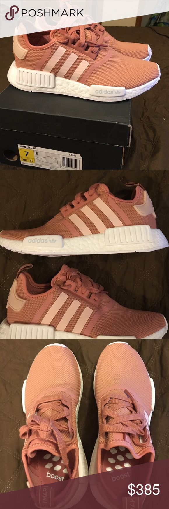 Adidas NMD R1 - Raw Pink Salmon Sz 7.5 Ignore listing price and msg me for  better prices.     Brand new authentic pair of a hard to find/rare Adidas NMD colourway.  If you like the shoe but it's not your size please msg me and I can find it. Adidas Shoes Sneakers