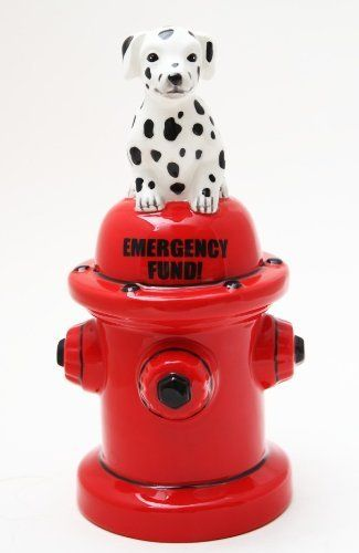 "Emergency Fire Hydrant Dalmatian Money Bank Saving With Style 8"" Tall by PTC. $16.18. Add Style and Fun to Saving Money. Made of Fine ceramic. Height: 8"". THIS PRODUCT IS MADE OH HIGH QUALITY CERAMIC. IT IS BRAND NEW IN ORIGINAL PACKAGING. EXCELLENT CRAFTSMANSHIP AND DETAILS. FULFILLED BY AMAZON, YOUR PURCHASE WILL BE WORRY FREE!!! SATISFACTION IS GUARANTEED."