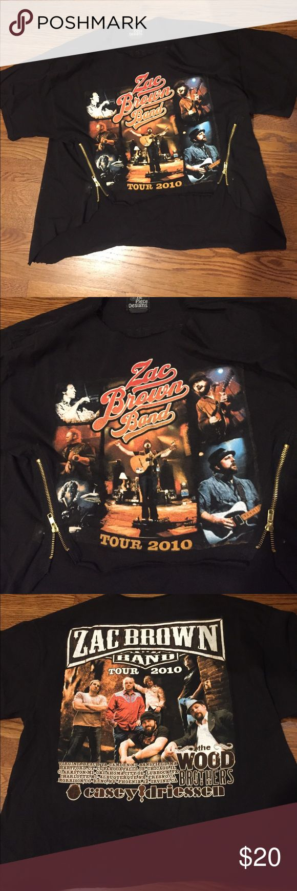 zac brown band concert tee front zippers, cropped in the front & long in the back, loose boxy fit One Piece Designs Tops Tees - Short Sleeve