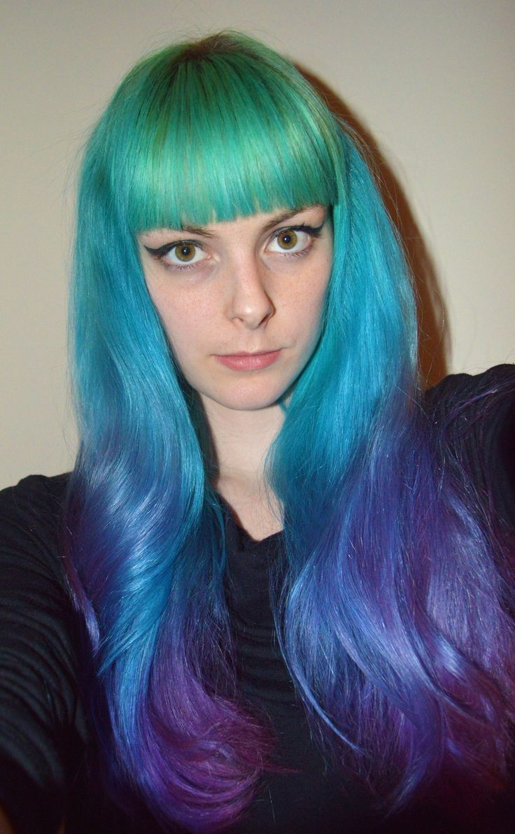 Blue and purple rainbow ombre hair dyed hair pastel for What does ombre mean