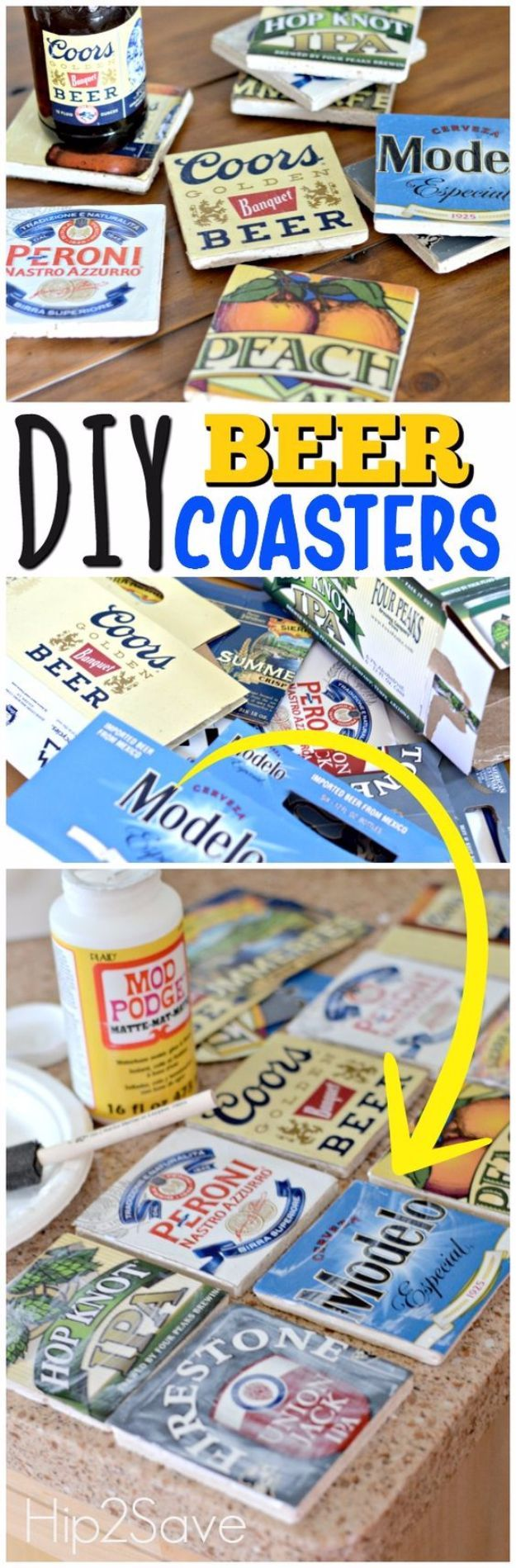 DIY Coasters - DIY Beer Coasters - Best Quick DIY Gifts and Home Decor - Easy Step by Step Tutorials for DIY Coaster Projects - Mod Podge, Tile, Painted, Photo and Sewing Projects - Cool Christmas Presents for Him and Her - DIY Projects and Crafts by DIY Joy http://diyjoy.com/diy-coasters #artsandcraftshouse,