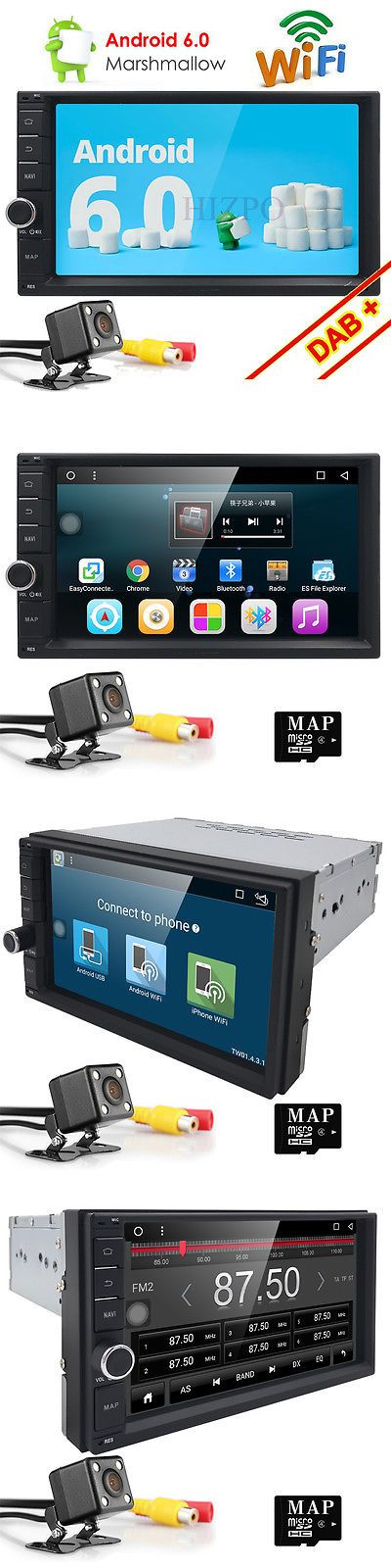 Vehicle Electronics And GPS: 7 Gps Navi Android 6.0 Double 2Din Car Auto Stereo Wifi 3G Bt Dab Radio+ Cam -> BUY IT NOW ONLY: $179 on eBay!