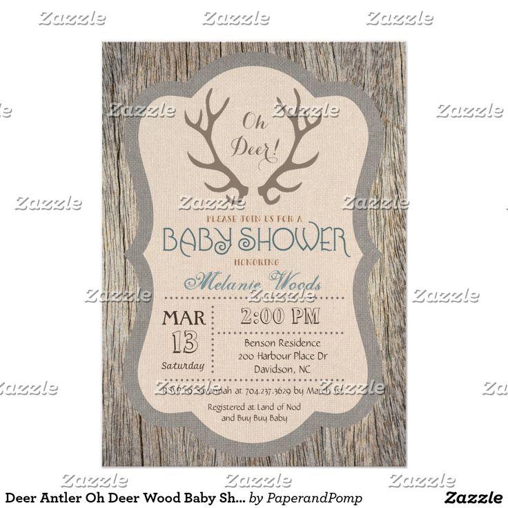 Deer Antler Oh Deer Wood Baby Shower Invitation