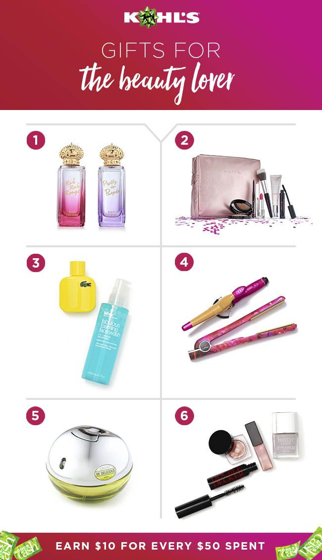 That girl who's always experimenting with a new shade of lipstick? These gifts are for her. Scents from brands like Lacoste, DKNY and Juicy Couture, the best new makeup trends and cutting-edge hair styling tools are all on her list this year. Plus, earn $10 Kohl's Cash for every $50 you spend. Shop #gifts for the beauty lover at Kohl's. #shopping #beauty