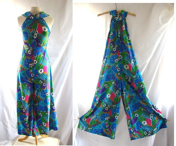 1960s Retro Floral Jumpsuit by HulaGirl1922 Etsy.com