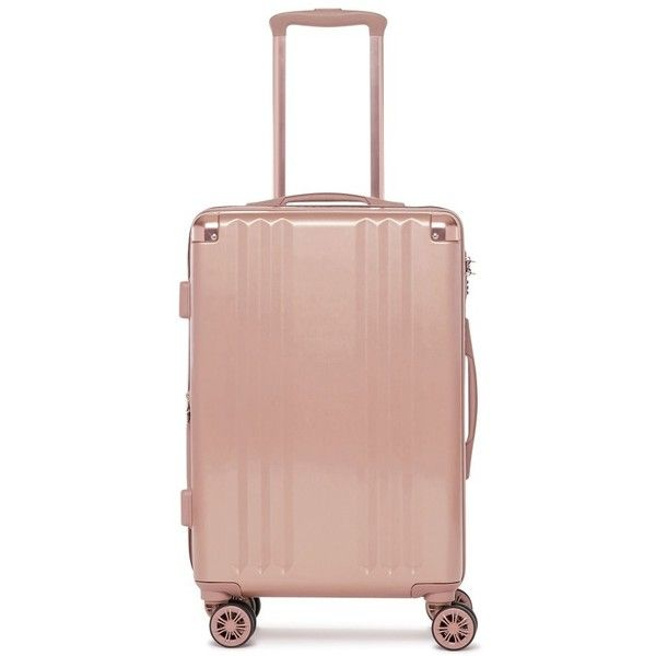 Calpak Ambeur 20-Inch Rolling Spinner Carry-On (1.815.480 IDR) ❤ liked on Polyvore featuring bags, luggage and rose gold