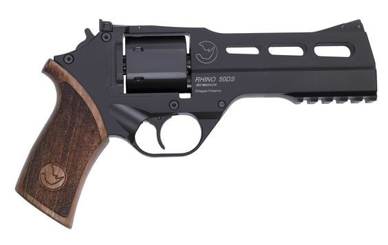 Rhino .357 Magnum. This gun is so sick it shoots from the bottom barrel: