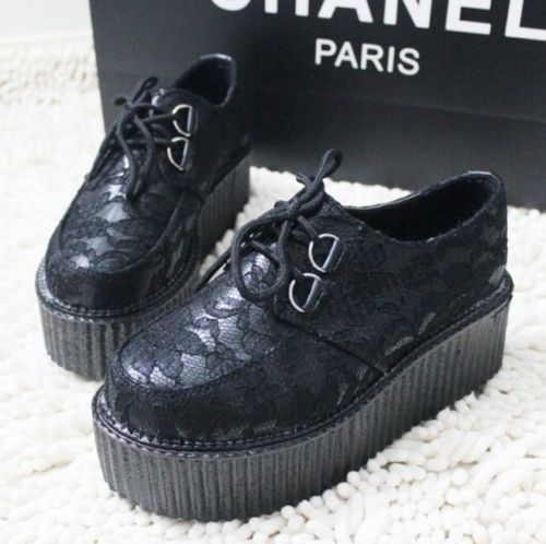 Fashion Ladies Flat Creepers Goth Punk Shoes Women's Flat Platform Lace Up Boots | eBay
