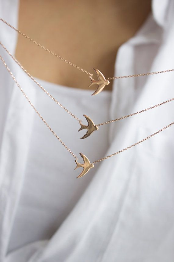 Necklaces Statement  / Swallow Bird Layered Sterling Silver Necklace, Rose Gold Plated, Excellent Quality Materials
