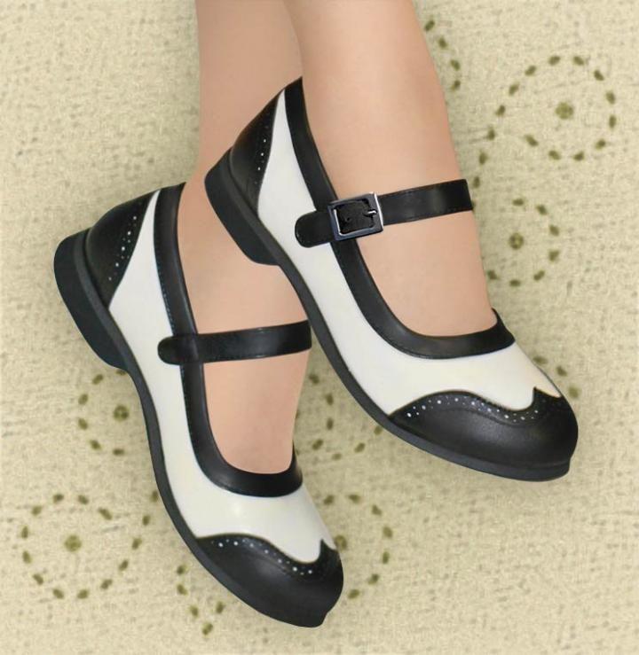 Aris Allen Women's Black & White Wingtip Athletic Mary Jane Swing Dance Shoe - Swing Dance Shoes