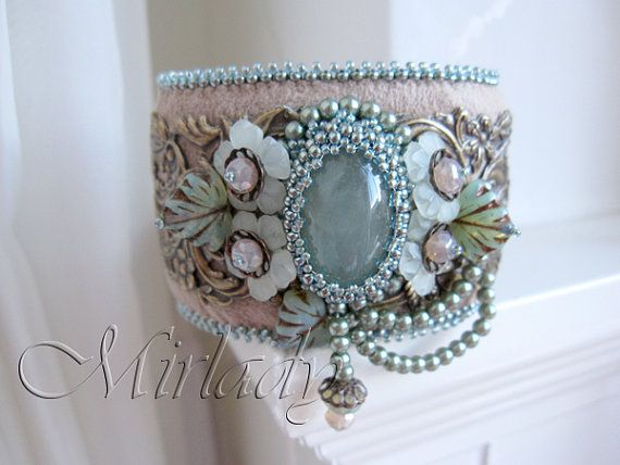 Bead Embroidery Cuff Bracelet with aqua marine cabochon by Mirlady, €129.00