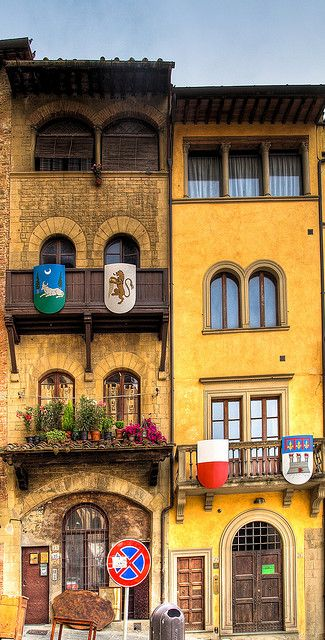 """Arezzo, Tuscany, Italy...if anyone has read """"Daughters of Siena"""", these emblems may remind you of that story."""