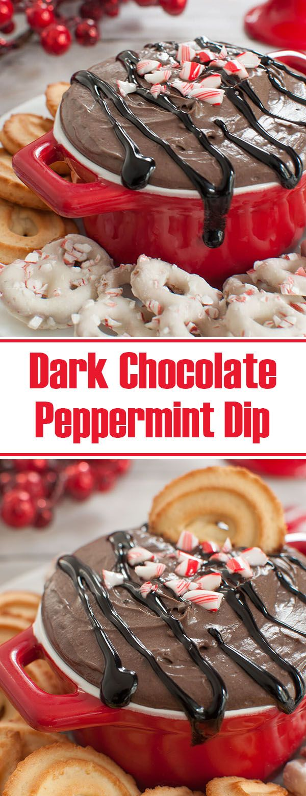 Easy Christmas dessert. This no bake, dark chocolate peppermint cheesecake dip will be a hit at your holiday party or potluck. Peppermint bark meets dip in this 5 ingredient recipe. Serve with cookies, pretzels or even as a cream cheese fruit dip.