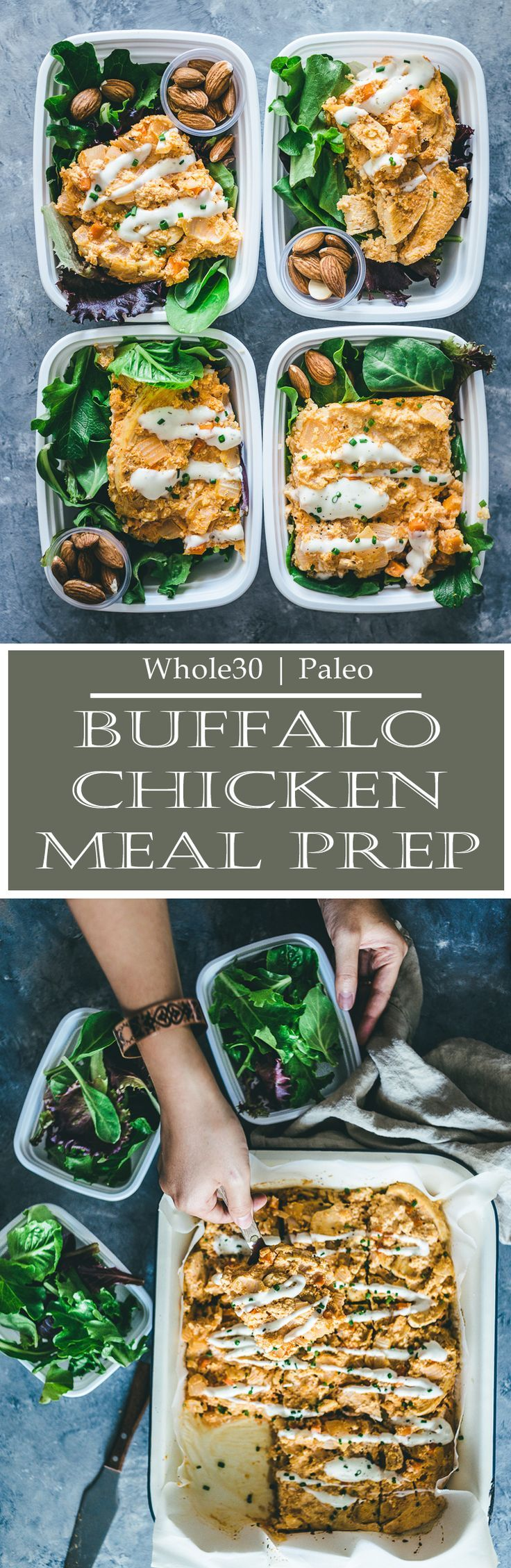 This Whole30 Baked Buffalo Chicken Casserole has all of the traditional buffalo chicken flavors that you love baked into one healthy dish! Gluten free, low carb and exceptionally easy. A meal prep recipe doesn't get any better than that!