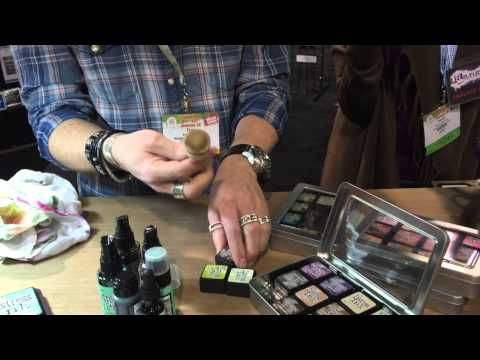 ▶ Tim Holtz demos at Ranger - CHA Mega Show 2015   texture pastes and embossing powder, new distress colors and more ideas with working with them, round blending tool foam stores in bottom of mini pad, different uses for matte and translucent texture paste, distress paint on metal