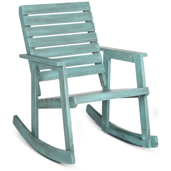 Brendyn Outdoor Rocking Chair, Quick Ship ($251) ❤ liked on Polyvore featuring home, outdoors, patio furniture, outdoor chairs, blue, blue outdoor chairs, rustic outdoor furniture, blue outdoor furniture and outdoor patio furniture