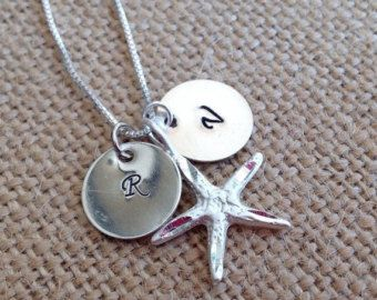 Check out Silver personalised necklace. Discs with initials and your choice of charm. Kids initials jewelry. With birthstone charms. on glitterazzijewels