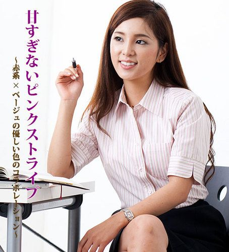 五分袖ピンクストライプシャツ/通勤・オフィスユニフォーム・企業制服にもおすすめ!Defie