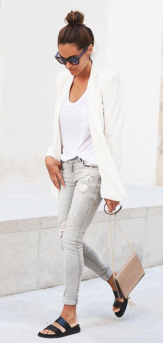 Zara, white blazer from Mango, bag from Purification Garcia and sunglasses from Fendi