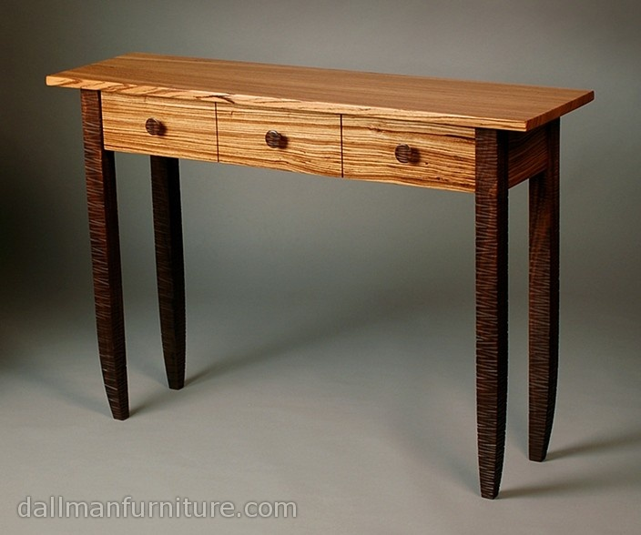 Zed By Kyle Dallman Solid Walnut And Zebrawood Hall Table Legs Pulls Feature Unique Hand Carved Textural Effect