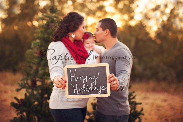 Chalkboard!  I like this idea!  Both adults could be kissing a cheek on the baby holding out the sign. I could totally do this in my new studio!