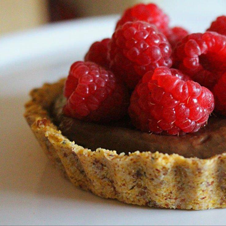 Chocolate & Raspberry Tart With A Polenta Crust