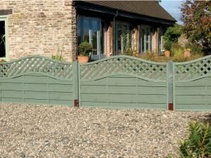 Fence on front garden wall painted sage green / grey