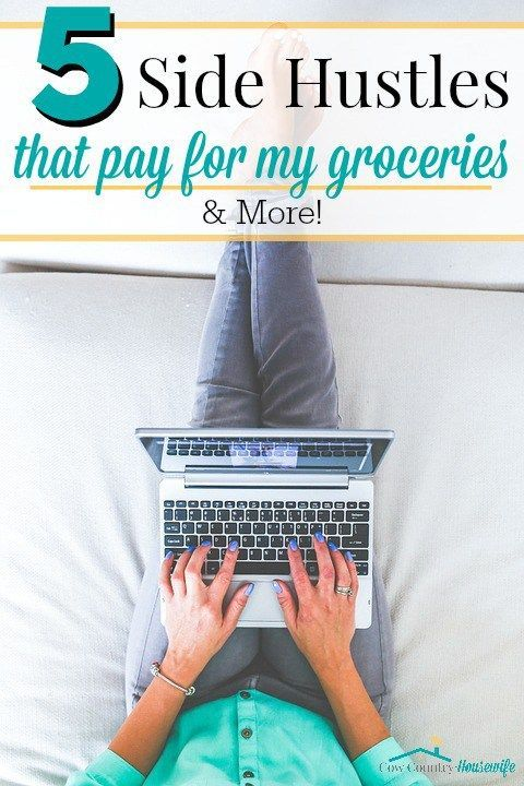 "A ""side hustle"" doesn't have to mean you're always selling things to make some extra money! I really hate selling things to people, so I was so glad to find these non-sales-y ways to make money. In the first month, I was able to pay for groceries for my family of five for a month just off of my side hustles! Now, I can even pay for more! Here are my 5 favorite side hustles! #5 is obviously my favorite!"